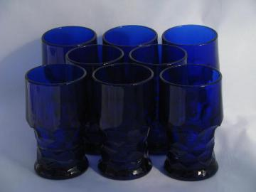 old Georgian pattern glass tumblers, vintage cobalt blue glasses, set of 8