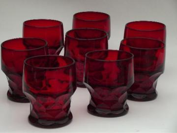 old Georgian pattern glasses, vintage royal ruby red glass tumblers set