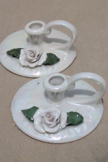 old German bisque china candle holders, tiny luster candlesticks marked Germany