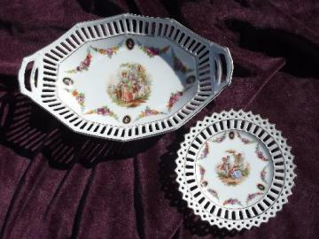 old German reticulated lace edge porcelain, round candy dish and oval bowl