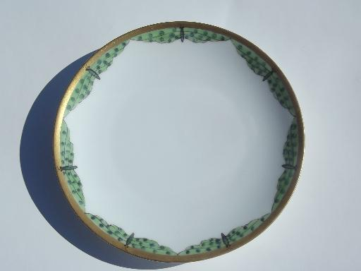old Germany china plate, hand-painted moths or green dragonflies edge