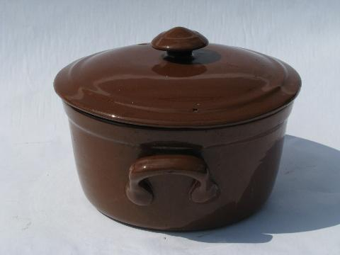 Old Guernsey Stoneware Pottery Vintage Covered Baking