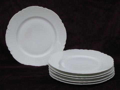 & old Haviland France porcelain plates pure white ornate scalloped border
