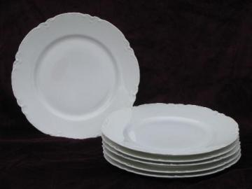 old Haviland France porcelain plates, pure white ornate scalloped border