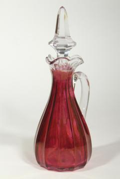 old Heisey cranberry flash stain colored glass cruet, EAPG antique glassware