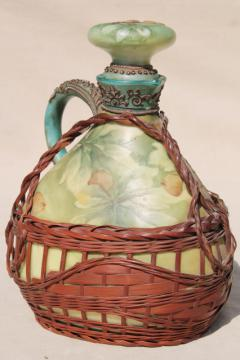 old Japan basket covered china decanter bottle, hand painted moriage acorns & leaves