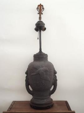 old Japanese bisque table lamp, matte black flying crane porcelain jar