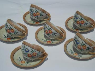 old Made in Japan vintage hand-painted flowers china tea cups, set of 6