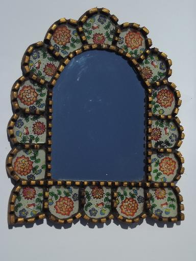 old mexican folk art mirror picture frame carved wood painted glass tiles - Mexican Frame