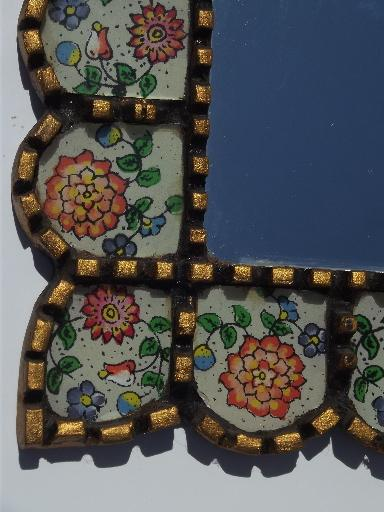 old Mexican folk art mirror picture frame, carved wood painted glass tiles