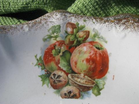 old New Jersey Pottery Company antique china fruit plate w/ handles