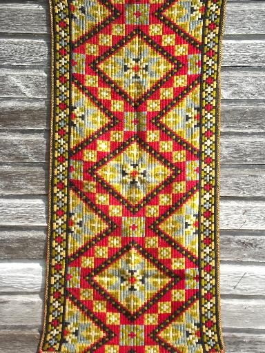 Old Norwegian Tapestry Hanging Or Table Runner Antique