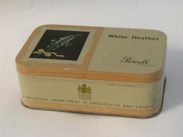 old Pascall White Heather toffee tin, Royal Warrant of the Queen Mother