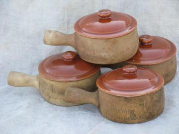 old Provincial Ware Red Wing pottery casseroles or handled onion soups