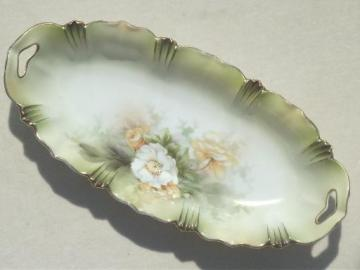 old R S Prussia china celery tray, antique hand-painted porcelain dish