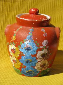 old Ransburg stoneware cookie jar crock, handpainted flowers on orange