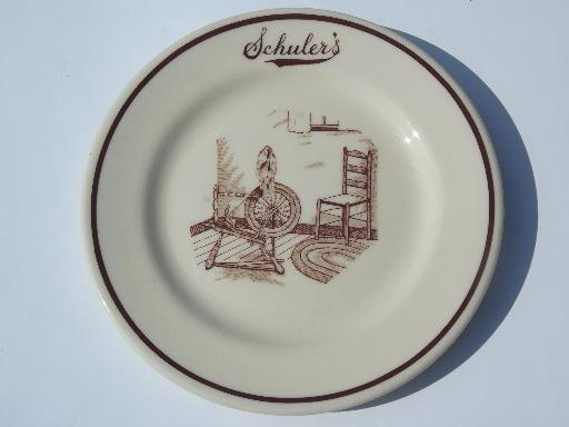 old Schuler's Family Restaurant plate, Iroquois adobe tan Syracuse china
