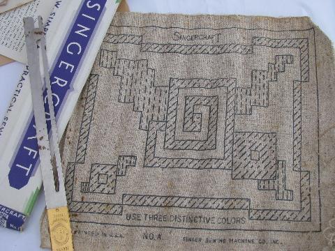 old Singercraft Singer sewing machine rug making tool w/ patterns ...