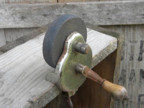 Old Steel Case Hand Cranked Tool Grinder Or Sharpener W