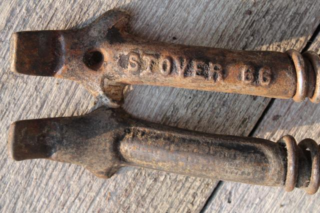 old Stover & Monarch wood stove tools, lifter handles for burner hot  plates, coal grate handle - Stover & Monarch Wood Stove Tools, Lifter Handles For Burner Hot