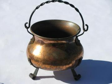 old Swiss hammered copper kettle w/ wrought iron handle, vintage Switzerland