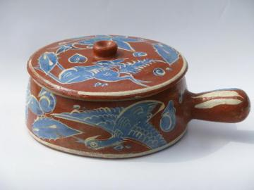 old Tlaquepaque pottery, hand-painted Mexican pottery bowl w/ handle