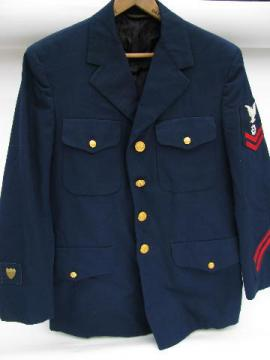 old US Navy blue uniform jacket/coat w/patches & buttons