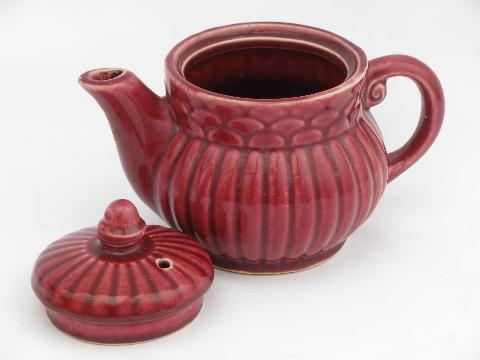 old USA mark, Shawnee pottery tea pot, 40s vintage burgundy red teapot