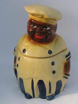 old USA pottery cookie jar, fat jolly cook, vintage black americana