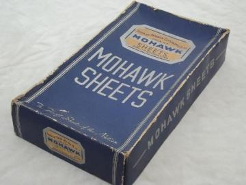 old Utica Mohawk advertising label, original vintage box for cotton sheets