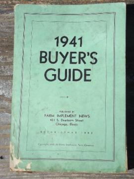old WWII vintage farm equipment buyer's guide agricultural advertising