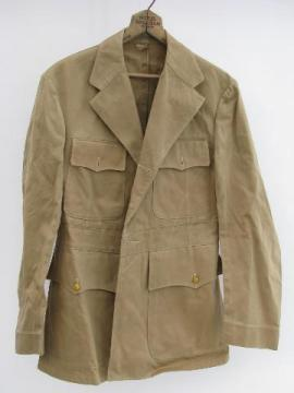 old WWII vintage khaki United States Navy officer's uniform tunic