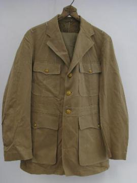 old WWII vintage khaki tan US Navy officer's uniform tunic/jacket w/trousers