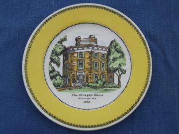 old Watertown WI souvenir plate, Octagon House architectural landmark