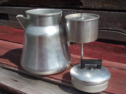 Camping Coffee Maker Percolator : old WearEver #3012 aluminum coffee pot percolator for camp stove or fire