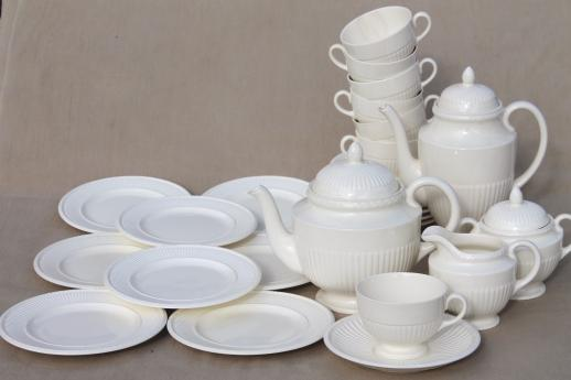 old Wedgwood plain creamware china tea set, Edme Queensware embossed fluted shape