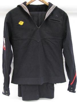old World War Two US Navy dress blue sailor's uniform w/hon. discharge patch