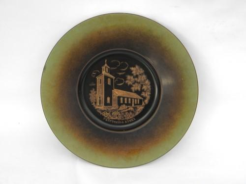 old Ystad-Brons engraved brass Swedish wedding plate Pjatteryds Kyrka