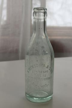 old advertising bottle embossed Henschel - Kiel Wisconsin, sea glass blue