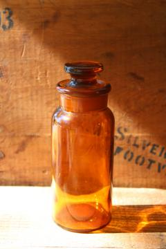 old amber brown glass medicine bottle w/ glass stopper, drugstore pharmacy apothecary bottle