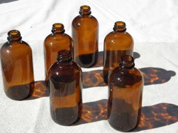 old amber brown glass pharmacy bottles lot, steampunk vintage