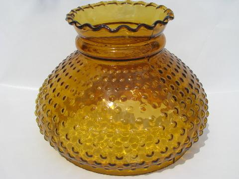 Old Amber Glass Student Table Lamp Light Shade, Hobnail Pattern, Vintage  Fenton