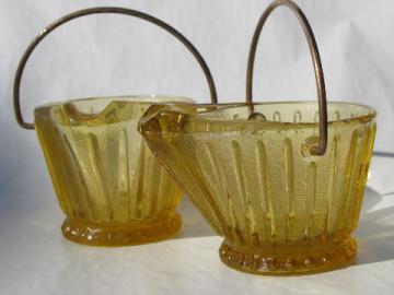 old amber pressed glass match holders, small coal scuttle buckets