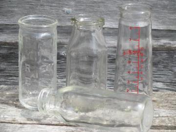 old and antique glass baby bottles lot, vintage Pyrex, milk bottle etc.