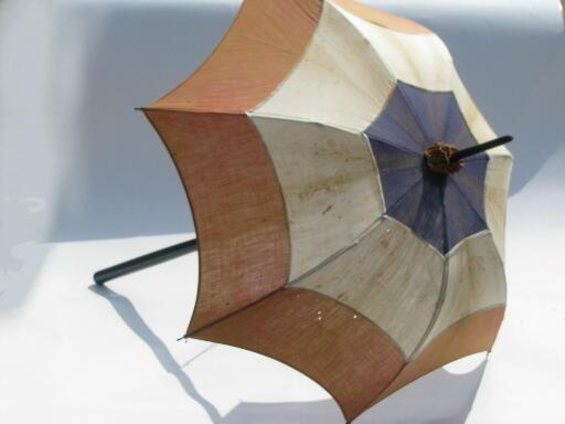 old antique 4th of July sun umbrella parasol, red white and blue cotton