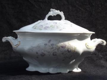 old antique Austria china covered soup tureen, lavender transferware flowers