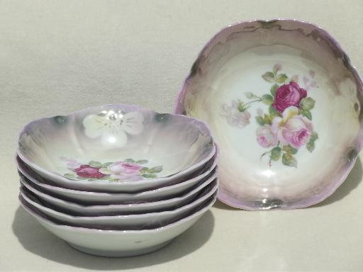 Berry Bowls Set W Cabbage Roses Fl