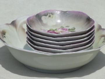 old antique Bavaria china berry bowls set w/ cabbage roses floral