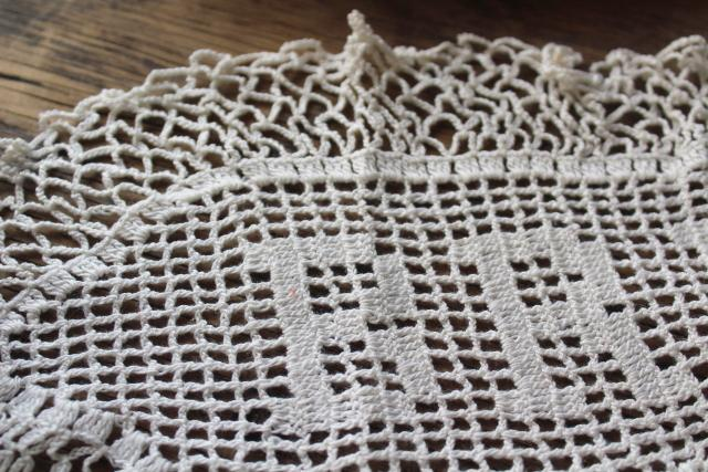 old antique Bread lace doily & silver tray, early 1900s vintage bread basket