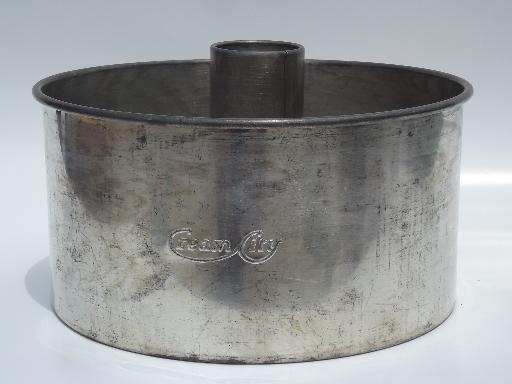 Old Antique Cream City Embossed Tin Angel Food Tube
